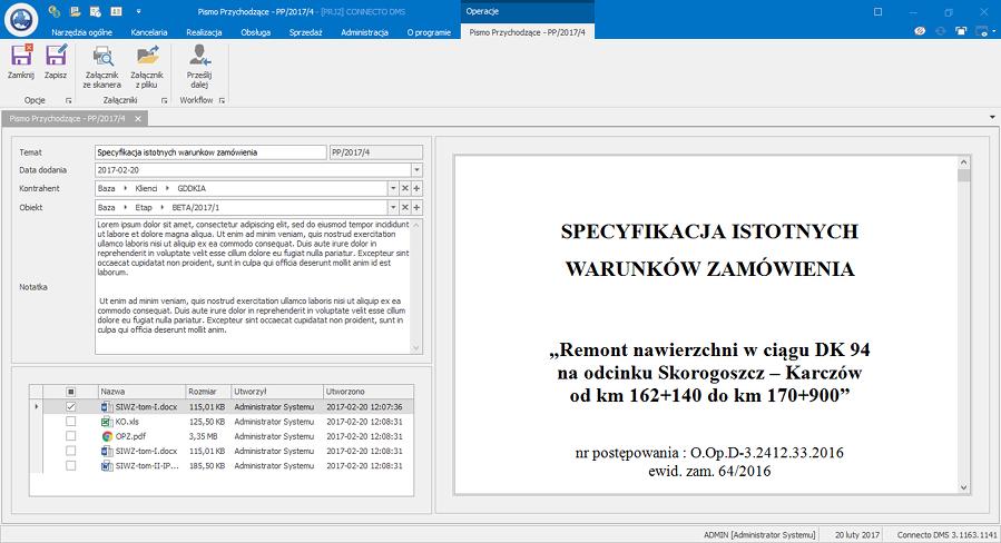 Elektroniczny obieg dokumentów - przykładowe zamówienie