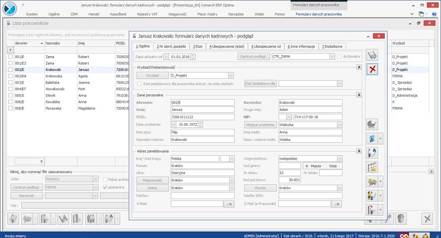 System ERP dla budownictwa - moduł kadrowo-płacowy