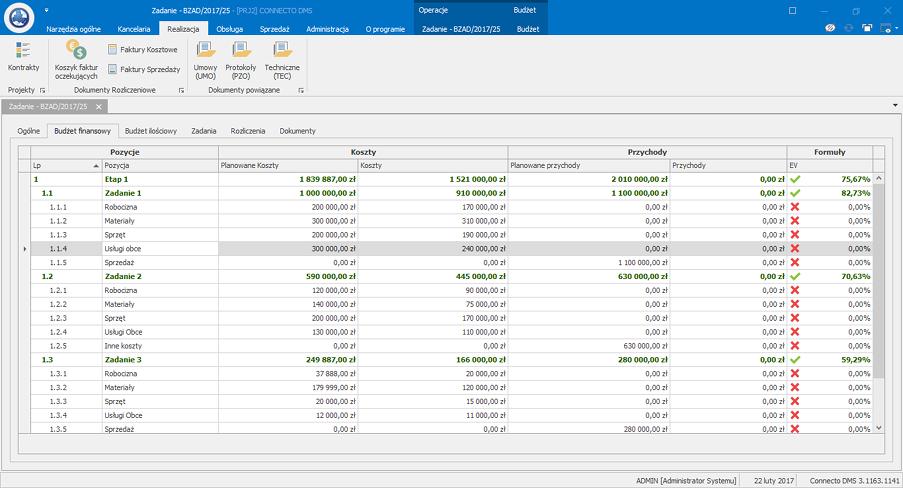 Zarządzanie projektami - budżetowanie w Connecto DMS